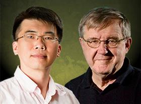 The CPLC at the University of Illinois at Urbana-Champaign is jointly directed by Gutsgell Professor of Physics Taekjip Ha (L) and Swanlund Professor of Physics Klaus Schulten (R).