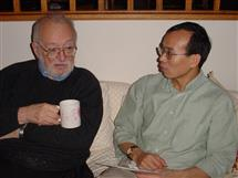 Professor Zhi-Pei Liang, right, pictured with late Illinois professor and MRI pioneer Paul C. Lauterbur.