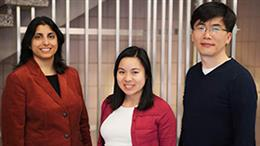 Pictured left to right are Jaya Yodh, research assistant professor and CPLC director of education and outreach, Thuy Ngo, graduate research assistant, and Taekjip Ha, Gutgsell professor of physics