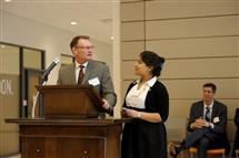 Texas Instruments' Steve Lyle and ECE student Sakshi Srivastava at the dedication of the Texas Instruments Electronics Design Lab and the Texas Instruments Student Center.