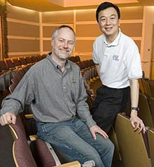 ECE Professor Wen-mei Hwu (right) and David Kirk, Fellow at NVIDIA, have co-authored a new textbook titled <em>Programming Massively Parallel Processors: A Hands-on Approach</em>.