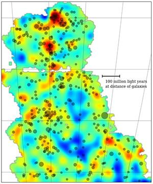 This is the first Dark Energy Survey map to trace the detailed distribution of dark matter across a large area of sky. The color scale represents projected mass density: yellow and red are regions with more dense matter. The dark matter maps conform to the current picture of mass distribution in the universe where large filaments of matter align with galaxies and clusters of galaxies. The clusters of galaxies are shown by the gray dots in the map � bigger dots represent larger clusters. This map covers three percent of the area of sky that DES will eventually document over its five-year mission. Image: Dark Energy Survey