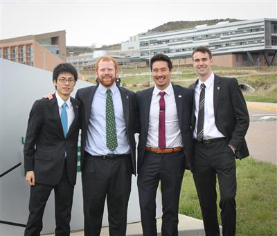 Team Illinois (l to r) Xinshi Zheng, HVAC/Energy Analysis Lead; Ryan Christensen, Architecture Lead; Matthew McClone, Project Manager; and Connor Bogner, Assistant Project Manager