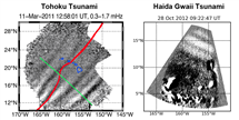 Charts showing the airglow signatures from the Tohoku and Haida Gwaii tsunamis
