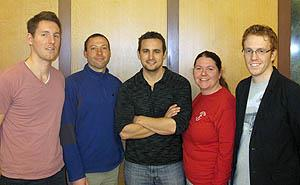 Organizers of the Symposium on Emerging Topics in Control and Modeling: Biomedical Systems are (from left) David Hoelzle, Miles Johnson, Jeremy Kemmerer, Ashlee Ford, and Robert Gregg.