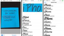 Screen captures from DeepFont, identifying the font that handwritten text comes closest to. The user photographs text, then the app analyzes it and proposes a list of fonts that possibly match the text.
