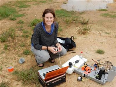 Graduate student Sierra Young spent the summer testing the technology around lakes and streams near Bangalore, India.