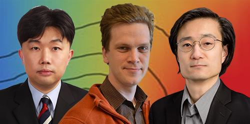 Pictured left to right are U.C. Davis postdoctoral researcher Wooje Lee, University of Illinois postdoctoral researcher Tomas Rube, and U. of I. Professor  of Physics and Bioengineering Jun Song