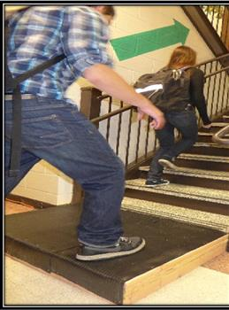 With the Power Pad, the motion of foot traffic, such as people going up stairs, can create electricity.