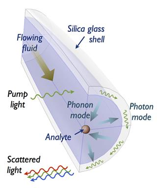 OMFRs employ phonons (quasiparticles of sound and vibration) to engage the conversation between the flowing analyte particles and circulating photons (particles of light) in the silica glass shell. In doing so, they make light sensitive to the mechanical parameters of the analyte.