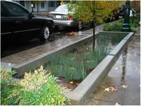 One of the streetscapes being designed and studied by the Smart Cities project is one with infiltration planters. (image courtesy of U.S. Environmental Protection Agency).