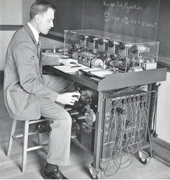 Nordsieck demonstrating the solution of the Van der Pol equation on his 'differential analyzer'