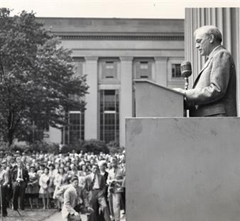 F. Wheeler Loomis, deputy director of the MIT Radiation Laboratory (Rad Lab), addresses the staff on May 8, 1945, VE Day, to announce the end of the war against Germany.
