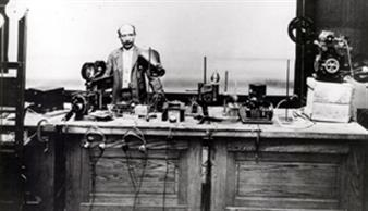 Joseph Tykociner, demonstrating sound-on-film in the Laboratory of Physics, Urbana, ca. 1921.