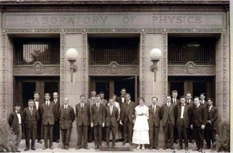 Physics faculty ca. 1912. Della Mae Rogers is standing to the right of Department Head A.P. Carman. To his left, in the white dress, is Eleanor Frances Seiler, the first woman to earn a Ph.D in physics from the University of Illinois.