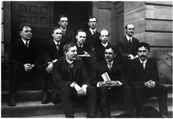 First row: Ernest Rutherford, department head Albert P. Carman, Charles T. Knipp. Middle row: A.H. Sluss, Fay C. Brown, C.S. Hudson, Floyd R. Watson, and W.F. Schultz. Back row: M. Case and W. Stempel