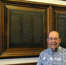 Since the University Archives are housed in the Library, Lichtenberger took time to stop by the 1955 Bronze Tablet on which his name appears.