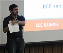 Mosab Elagha, ECE senior, speaks to incoming students at ECE Ignition.