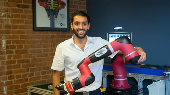 ECE alumnus Navid Aghasadeghi is designing collaborative robots for factories. Photo by Ryan Breslin/Boston.com Staff