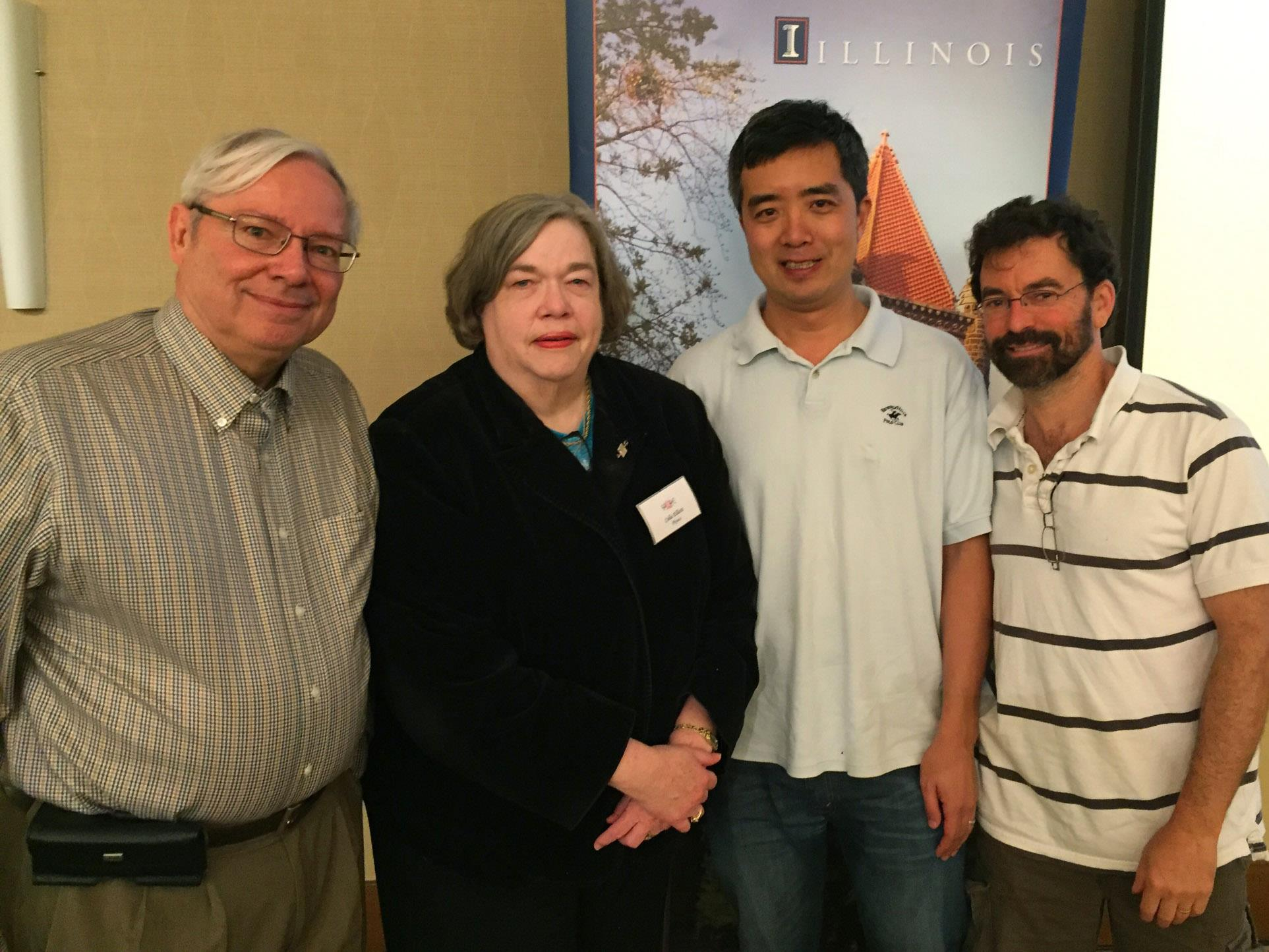 elliott selected for sparc career achievement award physics illinois celia elliott poses professors dale van harlingen left liang yang and