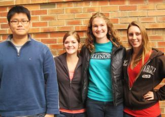 From left to right, Senior Design students Jon Yu, Brittany Weida, Ruth Osbrink and Meagan Musselman are winners of the University of Illinois' I2P Idea to Product Competition.