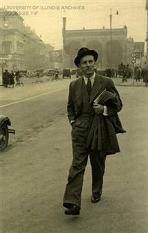 Photograph of Heinz Von Foerster (1911-2002) walking the streets of Munich, Germany, ca. 1940, found in record series 11/6/26, box 116.
