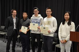 Team 45 won the Area Award for Sports and Recreation for their project 'Smart Hiking Bladder.' Team members: Bobi Shi, Dufei Wu, and Shuchen Song. Also pictured: Kexin Hui (TA) and Professor Makela.