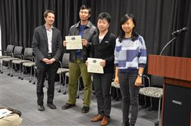 The Area Award for Digital Signal Processing is awarded to Team 49 for their 'Light Pipe Organ.' Team members: Dachuan Xiao and Shiqi Xu. Also pictured: Yuchen He (TA) and Professor Makela.