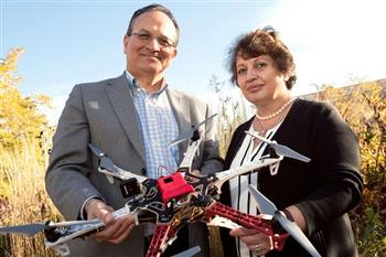 Al Eisaian, left, and Naira Hovakimyan, co-founders of IntelinAir. Photo courtesy of Crain's Chicago Business.
