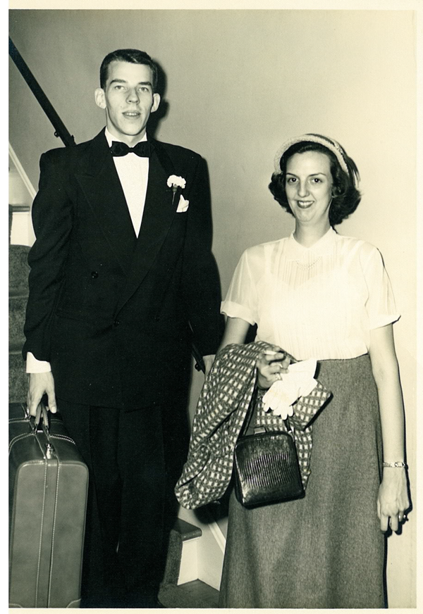 Wendell and Barbara off to honeymoon in St. Louis, 13 September 1952.