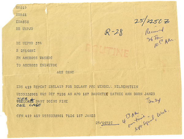 Telegram Wendell received at Eniwetok announcing the birth of his daughter.