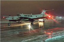 A King Air from the University of Wyoming is being used to measure the effects of silver iodide during the SNOWIE cloud seeding project. (Photo by Matt Burkhart.)