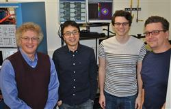 Left to right: Professor Kent Choquette, graduate students Zihe Gao and Brad Thompson, and ECE Professor Scott Carney.