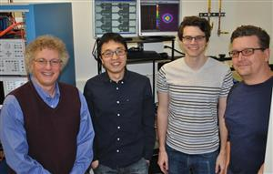 Left to right: Abel Bliss Professor of Engineering Kent Choquette, graduate students Zihe Gao and Brad Thompson, and ECE Professor Scott Carney.