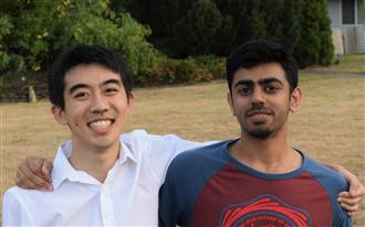 ECE ILLINOIS sophomore Kevin Guo (left) and Case Western Reserve engineering physics sophomore Pramith Devulapall (right), co-founders of Skydro