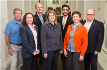 The Carle Illinois College of Medicine's nearly 100 faculty include prominent researchers, administrators and medical professionals with a broad range of expertise. Pictured, back row, from left: Jeff Woods, professor, College of Applied Health Studies; Dan Morrow, professor, College of Education; Dr. Priyank Patel, Carle; Wawryneic Dobrucki, professor, College of Engineering. Front row, from left: Margarita Teran-Garcia, professor, College of ACES; Susan Martinis, professor, College of LAS; and Janet Liechty, professor, School of Social Work.