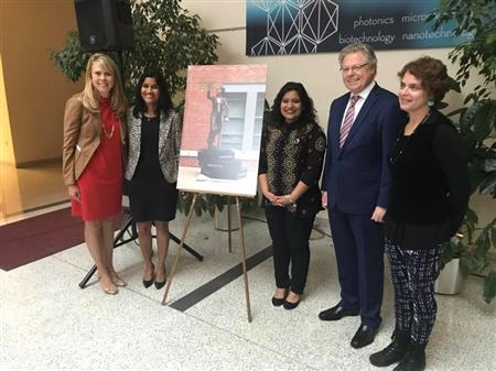 (From left to right) Angie Wolters, Associate Director of Women in Engineering at Illinois; Krunali Patel, vice president and general manager of Texas Instrument; Sakshi Srivastava, ECE ILLINOIS graduate student, Andreas Cangellaris, dean of Engineering at Illinois; and Julie Rotblatt-Amrany, Chicago-based artist.