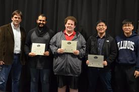 The Area Award for Art and Music is presented to Adam Belkhadir, Alex Dutrow and John Tran for their 'Persistence of Vision Music Visualizer.' Also pictured: Professor Oelze, Dongwei Shi (TA).