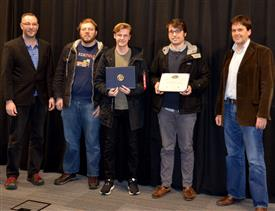 Texas Instrument's Best Use of Texas Instruments Hardware Award is awarded to Justin Sconza and Kyle Vondrak for their 'Step Analog Sequencer with Digital Tempo Input.' Also pictured: Skot Wiedmann (Sponsor), Professor Oelze.