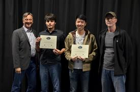The Area Award for Embedded Systems is presented to Gary Liu and Mario Escobar for their 'Scrim Light: A Controllable LED Lighting Strip.' Also pictured: Professor Hutchinson,  Rick Kessinger (Sponsor).
