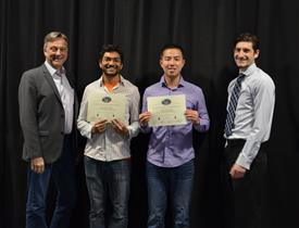The Area Award for Safety is awarded to Joydeep Ganguly and Dennis Wong for their 'PPE and Worker Tracking System.' Also pictured: Professor Hutchinson, John Capozzo (TA).