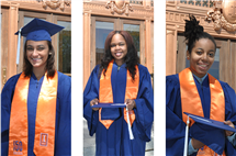 From left: Lauren Gabra, Allana Griffith, and Jada Hampton are among the latest Lincoln Scholars to graduate from Illinois.
