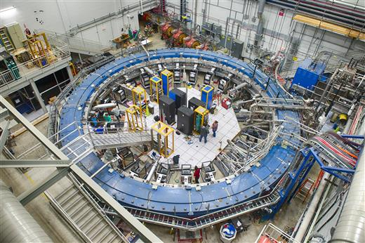 The installed Muon g-2 ring with instrumentation, at Fermi National Laboratory outside Batavia, IL, in the greater Chicago area. Image courtesy of Fermilab.