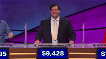 After he answered the final Jeopardy question correctly, Sam received his $3,428 wager.
