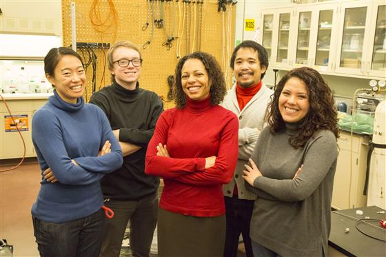 Nadya Mason poses with some of her graduate students in her laboratory in the Frederick Seitz Materials Research Lab. Photo by L. Brian Stauffer, University of Illinois at Urbana-Champaign