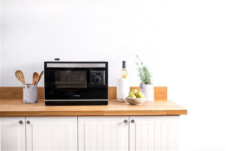 The Tovala Smart Oven sells for $399 and is about the size of a large microwave.