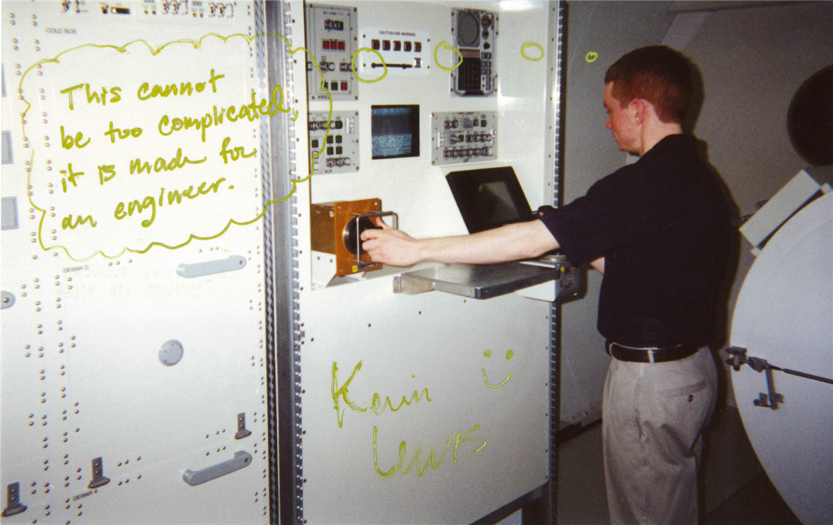 Written on the photo is 'This cannot be too complicated, it is made for an engineer. Kevin Lewis'