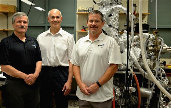 Left to right: Zyvex President John Randall, ECE ILLINOIS Professor Joseph Lyding, and Josh Ballard, Lyding's former post-doctoral collaborator and current director of Atomically Precise Manufacturing at Zyvex Labs.