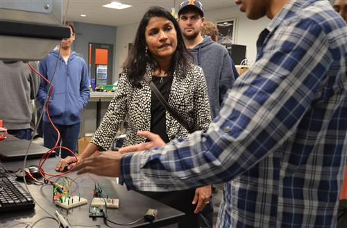 Krunali Patel, vice president and general manager of Texas Instruments, visited the TI Electronics Design Lab earlier this year. Students demonstrated how they are using TI technology to power their projects.