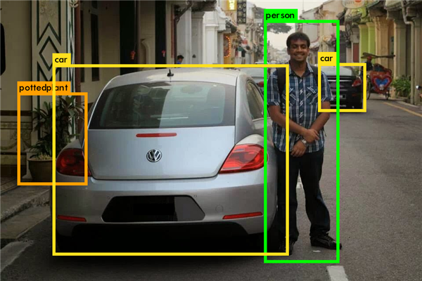 Ramakrishnan Narayanan next to a vehicle. His algorithm was used to label objects in the photo.